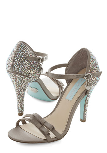 Stiletto Sisterhood Heel by Betsey Johnson - High, Satin, Silver, Grey, Solid, Bows, Rhinestones, Prom, Wedding, Party, Bridesmaid, Luxe, Better, Bride