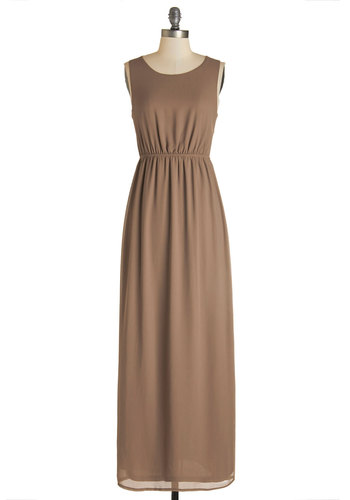Before the Gala Dress - Woven, Brown, Solid, Cutout, Casual, Boho, Vintage Inspired, 70s, Maxi, Sleeveless, Good, Scoop, Long, Party