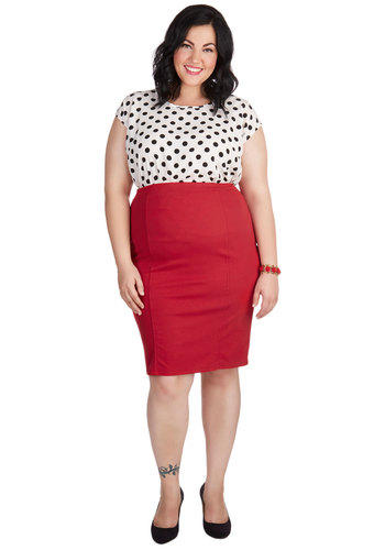 Style Essential Skirt in Red - Plus Size - Red, Solid, Work, Pinup, Vintage Inspired, Minimal, Jersey, Variation, Basic, Girls Night Out