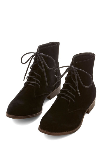 The Velveteen Habit Bootie - Low, Faux Leather, Black, Solid, Good, Lace Up, Vintage Inspired, 90s
