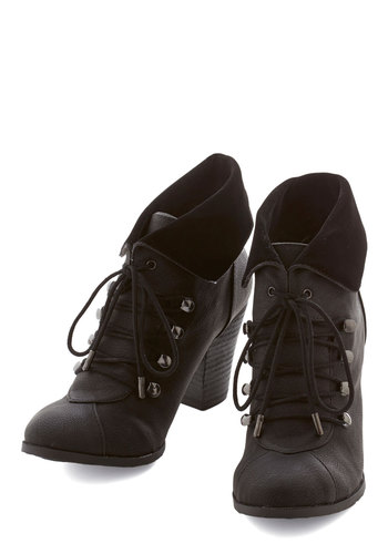 Barks and Recreation Bootie in Black - Mid, Faux Leather, Black, Solid, Fall, Winter, Good, Lace Up, Variation