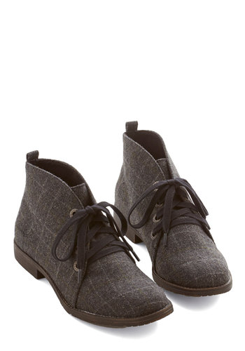 Smart Strides Bootie - Low, Woven, Grey, Plaid, Menswear Inspired, Good, Lace Up, Casual