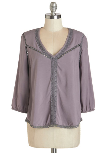 Cool, Calm, and Calligraphy Top in Grey - Mid-length, Woven, Purple, Solid, Casual, Boho, Festival, 3/4 Sleeve, V Neck, Purple, 3/4 Sleeve