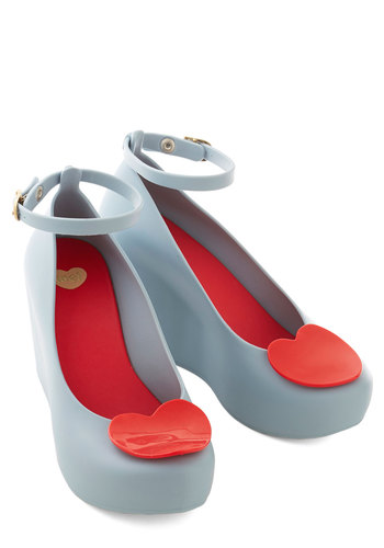 I Adore You Wedges in Light Blue by Mel Shoes - Mid, Blue, Red, Solid, Party, Valentine's, Darling, Better, Platform, Wedge, Variation