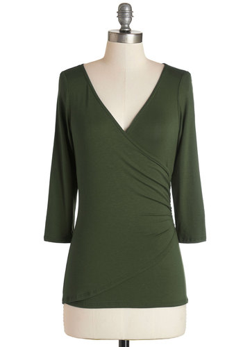 Saving Vase Top in Olive - Jersey, Knit, Mid-length, Green, Solid, Ruching, 3/4 Sleeve, Variation, Basic, V Neck, Fall