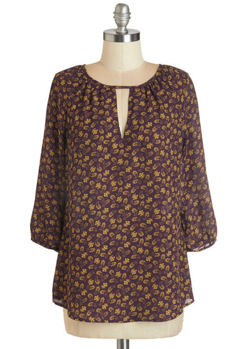 Abounding Talent Top - Mid-length, Woven, Purple, Yellow, Paisley, Cutout, Work, 3/4 Sleeve, Fall, Purple, 3/4 Sleeve