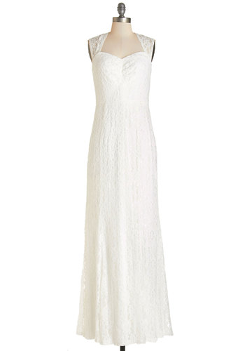 Sunrise Ceremony Dress - White, Wedding, Bride, Solid, Cutout, Lace, Maxi, Sleeveless, Woven, Lace, Better, Long, Sweetheart