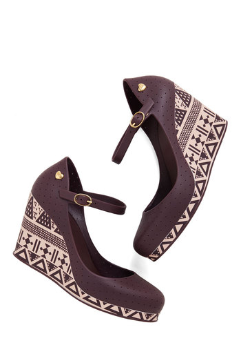 Wine Not? Wedge by Mel Shoes - Mid, Purple, Solid, Print, Casual, Better, Wedge, Mary Jane, Daytime Party, Platform