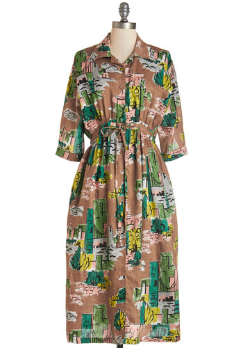 Here's to View Dress - Multi, Print, Buttons, Casual, Vintage Inspired, 50s, A-line, Short Sleeves, Fall, Woven, Better, Collared, Long, Pockets, Belted, 3/4 Sleeve, Full-Size Run
