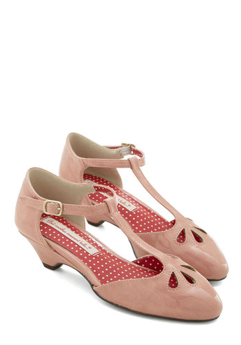 Department to Be Heel in Rose by Bait Footwear - Low, Faux Leather, Pink, Solid, Cutout, Party, Work, Vintage Inspired, 20s, 30s, Darling, Better, T-Strap, Variation, 40s, Pastel