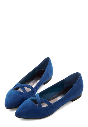 Style Pointers Flat in Cobalt - Flat, Faux Leather, Blue, Solid, Party, Work, Minimal, Good