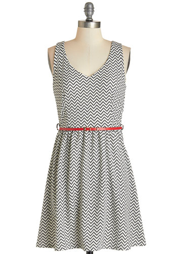 Shopping in the Sunshine Dress - Black, White, Chevron, Belted, Casual, A-line, Sleeveless, Fall, Knit, Good, V Neck, Short