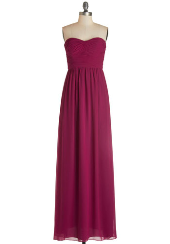 This Sway to the Party Dress in Berry - Long, Woven, Pink, Solid, Ruching, Special Occasion, Prom, Wedding, Bridesmaid, Homecoming, Maxi, Strapless, Best, Variation, Sweetheart