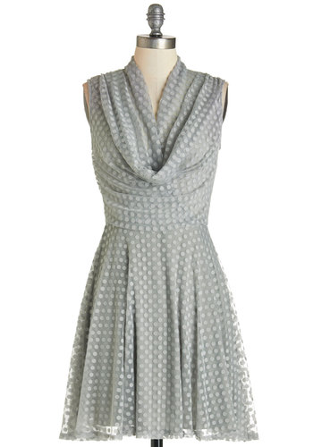 Sublime and Sweet Dress - Knit, Polka Dots, A-line, Sleeveless, Good, Cowl, Grey, Party, Short