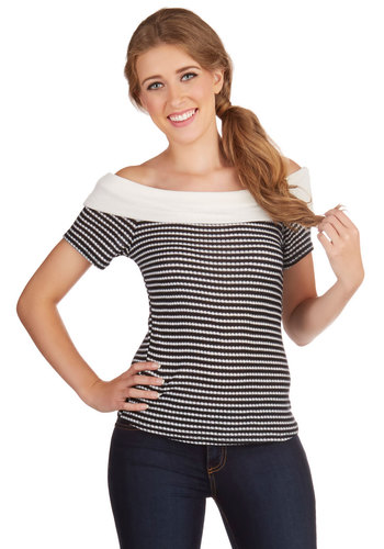 Curating Cute Top - Knit, Black, White, Stripes, Work, Girls Night Out, Rockabilly, Pinup, Vintage Inspired, 50s, Short Sleeves, Summer, Black/White, Short Sleeve, Scoop