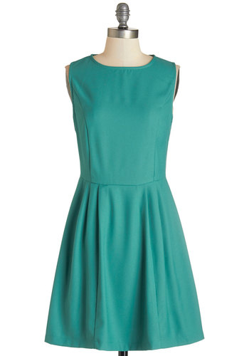 Frolicking Through Dress - Mid-length, Woven, Green, Solid, Pleats, Casual, A-line, Sleeveless, Good, Crew, Exposed zipper
