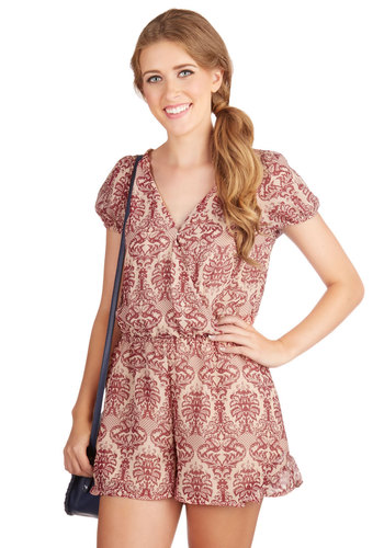Classics Class Romper - Fall, Good, Red, Romper, Woven, Print, Casual, Daytime Party, French / Victorian, Short Sleeves, V Neck, Pink