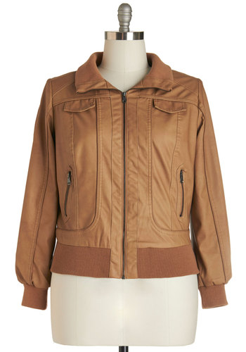 Apple Butter Outing Jacket in Plus Size - Faux Leather, Tan, Solid, Pockets, Casual, Urban, Long Sleeve, Exposed zipper, Fall, Winter, Better, 1, Brown