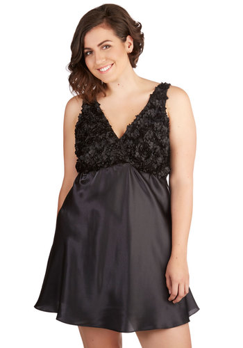 One for the Dream Nightgown in Noir - Plus Size - Woven, Black, Solid, Flower, Boudoir, Sleeveless, Variation, V Neck