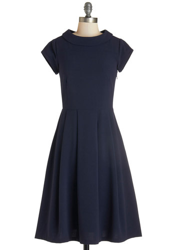 Demure First Day Dress - Long, Blue, Solid, Pleats, Work, Casual, A-line, Cap Sleeves, Knit, Good, Crew