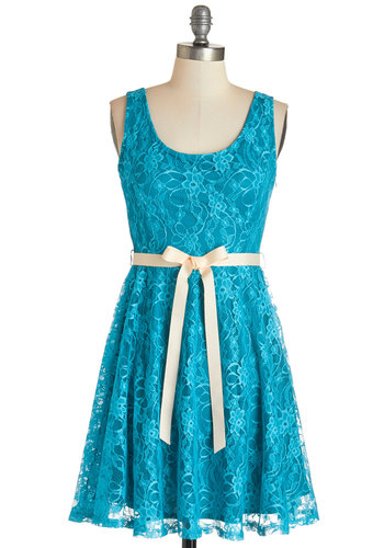 Brighten the Evening Dress - Blue, Solid, Party, A-line, Sleeveless, Woven, Lace, Good, Scoop, Mid-length, Lace, Belted