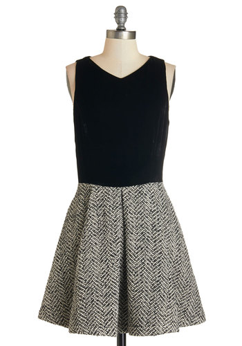 Texture Twist Dress - Black, Grey, Herringbone, Pleats, Work, A-line, Sleeveless, Mixed Media, Better, Scoop, Pockets, Mid-length