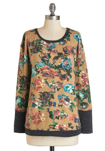 Composing the Chorus Sweater by Tulle Clothing - Multi, Long Sleeve, Mid-length, Knit, Tan, Multi, Floral, Casual, Long Sleeve, Scoop