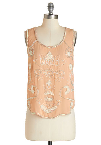 Dance Floor Appeal Top - White, Sleeveless, Mid-length, Pink, Tan / Cream, Beads, Pearls, Daytime Party, Pastel, Sleeveless, Scoop, Party