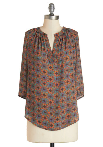 Burst of Personality Top - Mid-length, Woven, Multi, Print, Casual, 3/4 Sleeve, Fall, Multi, 3/4 Sleeve, Exclusives
