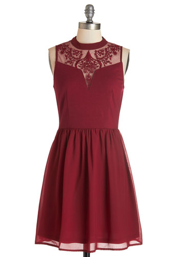 The Way to Whimsy Dress - Red, Solid, Embroidery, Party, A-line, Sleeveless, Woven, Better, Collared, Mid-length