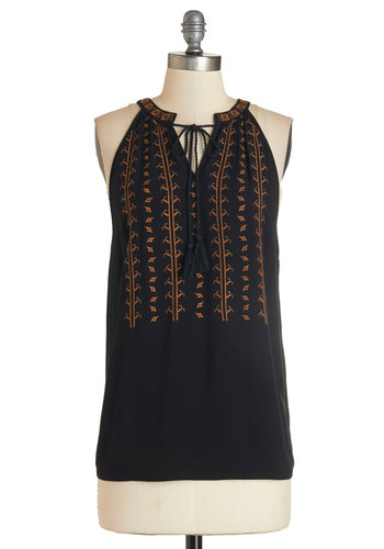 Balos Lagoon Top in Black - Mid-length, Woven, Black, Orange, Print, Embroidery, Casual, Boho, Festival, Sleeveless, Variation, Black, Sleeveless
