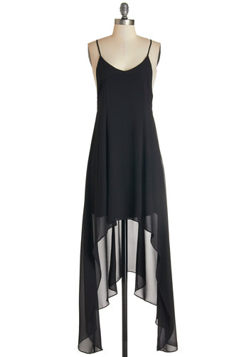Stroll With Your Sweetie Dress - Black, Solid, Party, Maxi, Better, V Neck, Mid-length, Woven, Spaghetti Straps