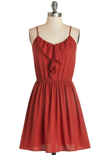 Market Scavenger Hunt Dress - Red, Solid, Ruffles, Scallops, Casual, Vintage Inspired, 70s, A-line, Fall, Woven, Good, V Neck, Mid-length, Spaghetti Straps