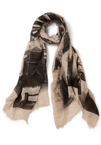 Everything is UK Scarf - Print, Darling, Cotton, Sheer, Woven, Tan / Cream, Black, Novelty Print, Travel