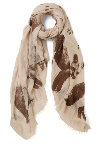 Footprint Mixing Scarf - Cotton, Sheer, Woven, Tan, Brown, Print with Animals, Casual, Woodland Creature