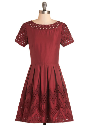 Hep Rally Dress by Dear Creatures - Red, Solid, Chevron, Eyelet, Party, Short Sleeves, Woven, Mid-length, Pockets