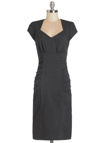 Piano Bar Chanteuse Dress in Charcoal - Variation, Grey, Solid, Cutout, Ruching, Party, Vintage Inspired, 40s, Cap Sleeves, Better, Sweetheart, Woven, Work, Cocktail, Sheath, Long