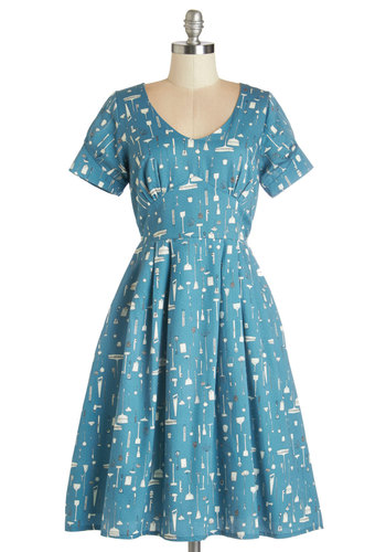Clean Winner Dress - Blue, White, Novelty Print, Pleats, Casual, Vintage Inspired, A-line, Short Sleeves, Better, Scoop, Pockets, 50s, Long