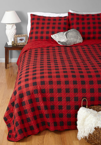 Cabin in the City Quilt Set in Full/Queen - Cotton, Woven, Multi, Rustic, Best, Red, Black, Checkered / Gingham, Guys