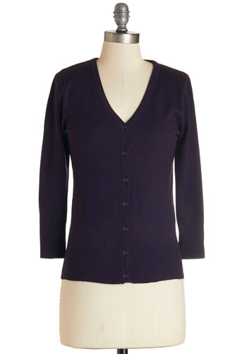 Charter School Cardigan in Blackberry - Knit, Purple, Solid, Buttons, 3/4 Sleeve, Variation, Basic, V Neck, Fall, Mid-length, Gals, Top Rated, Work, Casual
