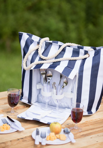 First Round Tote & Picnic Set - Multi, Nautical, Americana, Best, Blue, White, Stripes, Travel, Summer, Gals
