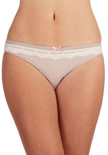 La Te Darling Undies - Knit, Lace, Tan, Bows, Lace, Vintage Inspired, White