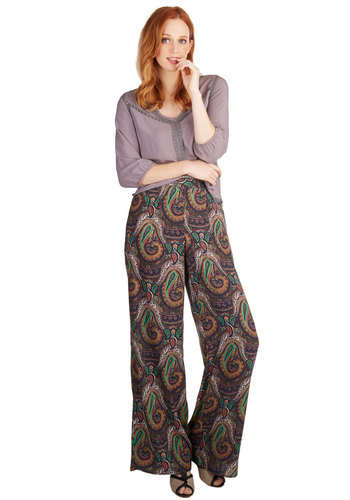 Semester at Seafront Pants - Woven, Multi, Paisley, Casual, Vintage Inspired, 70s, Wide Leg