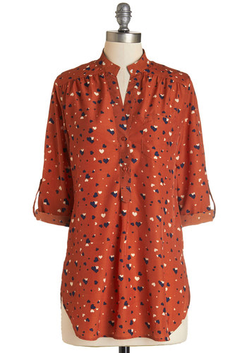 Love Ballad Tunic in Rust - Long, Woven, Orange, Blue, Tan / Cream, Novelty Print, Buttons, Pockets, Casual, 3/4 Sleeve, Variation