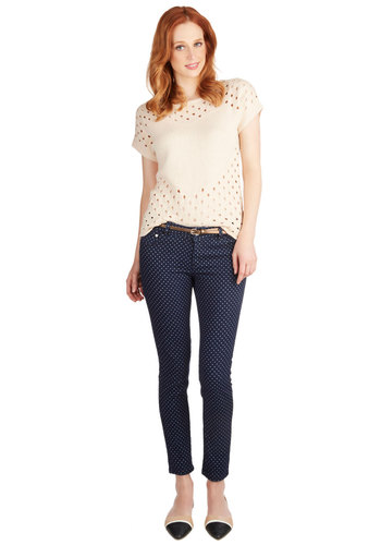 Dotted Delight Jeans - Skinny, Cotton, Denim, Low-Rise, Blue, Printed/Patterned, Denim, Blue, Polka Dots, Pockets, Belted, Casual, Cropped, Good, Ankle