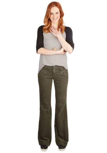 Crisp and Casual Friday Pants in Olive - Cotton, Green, Pockets, Casual, Vintage Inspired, 70s, Flare / Bell Bottom, Variation, Top Rated, Solid, Fall, Good, Low-Rise, Full length, Green, Non-Denim