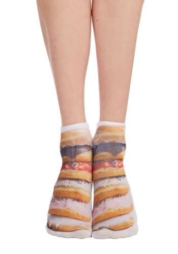 Quirk It Out Socks in Donuts - Darling, Food, Knit, Multi, Novelty Print, Casual, Quirky