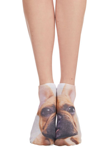 Quirk It Out Socks in Pup - Tan, Multi, Print with Animals, Darling, Critters, Dog, Knit, Casual, Variation, Quirky