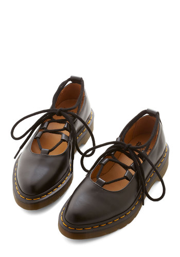 Yard Party Flat by Dr. Martens - Low, Leather, Black, Solid, Casual, Vintage Inspired, 90s, Lace Up