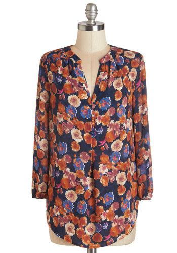 Daylong Date Top in Ranunculus - Chiffon, Sheer, Woven, Multi, Floral, Casual, Long Sleeve, Fall